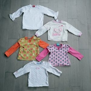 Lot of 5 Girl's Long-Sleeved Shirts, 18-24m